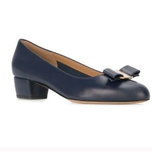 Salvatore Ferragamo Vara Navy Blue leather heels